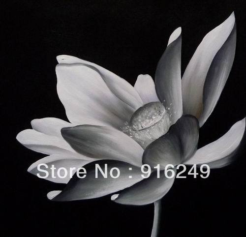 Hot Sell Black and White Oil Painting Lotus Flowers Modern ...