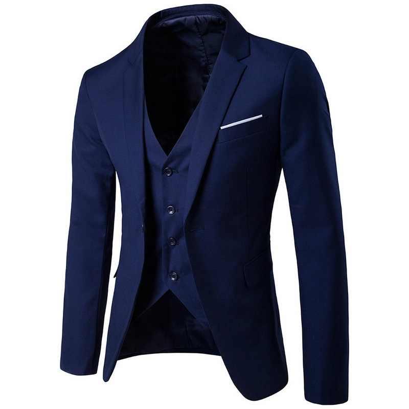Laamei 男性のビジネス介添人スーツスーツ + ベスト + パンツ 3 個の権利が確定セットスリムスーツの結婚式パーティーブレザージャケット