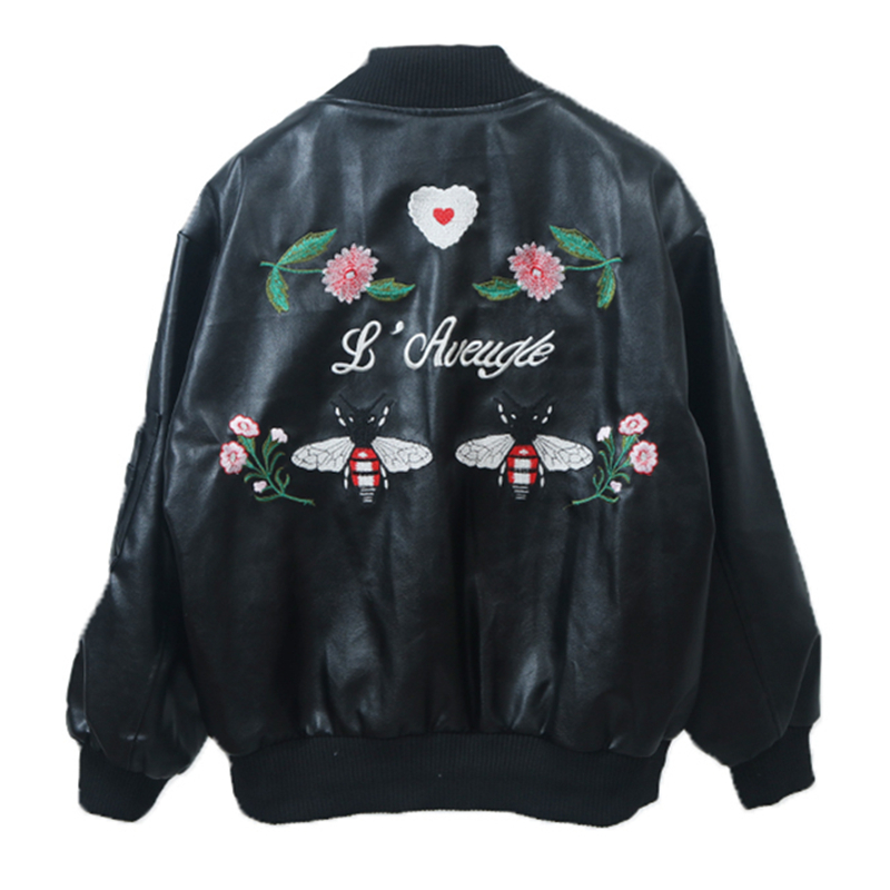 2018 Spring Autumn Women PU Leather Jacket Fashion Loose Printed Embroidery Zipper Faux Leather Basic Coat Outwear E78