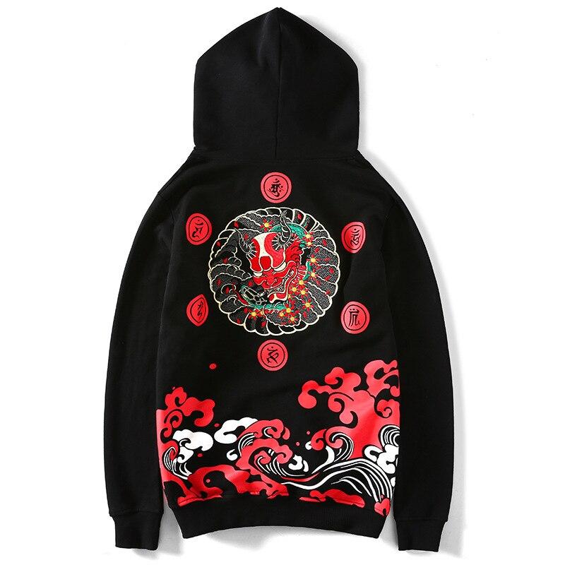 Hoodie Men 100 Cotton Japanese Style Harajuku Steetwear Gothic Embroidery Satan Skull Sweatshirt Gym Hoody Japan Hoodies Mens