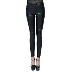 Женские брюки из искусственной кожи в стиле панк, готические обтягивающие черные брюки, Длинные эластичные облегающие брюки, Chaparajos