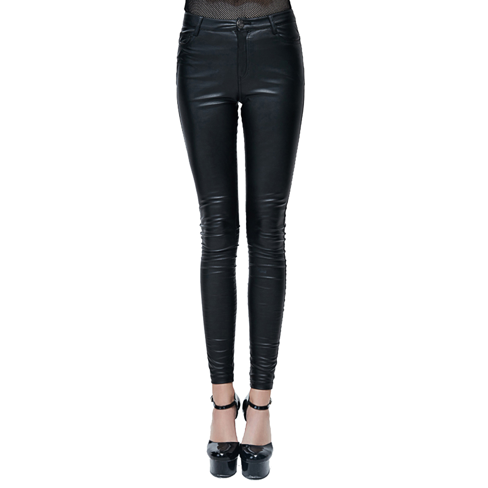 Punk Women PU Leather Pants Gothic Stretch Tight Black Trousers Long Elastic Slim fitting Chaparajos With