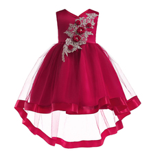 2-10T Baby Girl Lace Trailing Dress for Wedding Party New Style Sequins Flowers Princess Girls Dresses Summer Girl Dresses 5p202 5 5pcs lot baby girls dress 2017 new wedding dresses girl summer lace wholesale baby boutique clothing