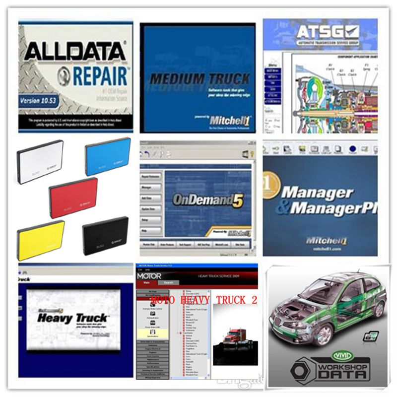 2018 hot selling alldata 10.53 auto repair software ALL DATA Mitchell on demand 2015 ect 26 softwares in 1tb hdd hard disk vivid