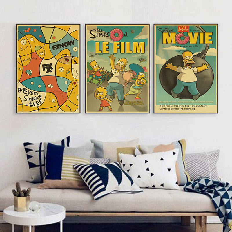 The SimpsonsHomer Jay Simpson Bartholomew Marge Lisa Maggie Vintage Paper Poster Wall Painting Home Decoration 42X30CM 30X21CM