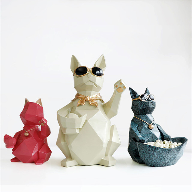 Nordic lucky cat resin ornaments creative home decor crafts animal display figurines housewarming shop opening mascot gifts