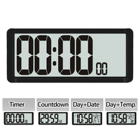 Super Big Countdown Timer, Kitchen Wall Clock, Large LCD Screen with Temperature, Calendar, Day display, Alarm Clock, Table