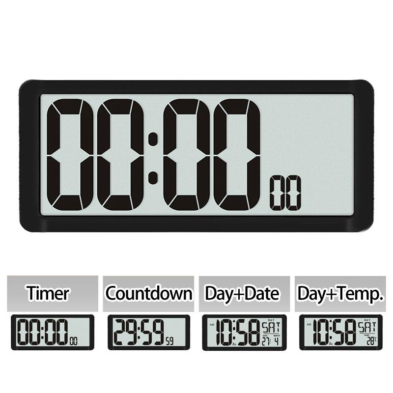 Super grand compte à rebours, horloge murale de cuisine, grand écran LCD avec température, calendrier, affichage du jour, réveil, Table