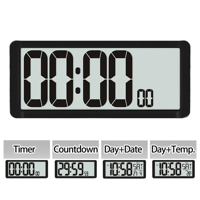 Temporizador de Cuenta regresiva súper grande, reloj de pared de cocina, pantalla LCD grande con temperatura, calendario, pantalla de día, reloj despertador, Mesa
