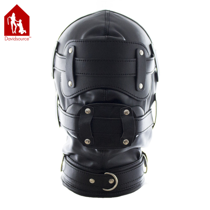 Davidsource Lace-up Leather Hood With Eye & Mouth Holes & Dildo Panel Gag Sub Slave Punishment Kit Restraint Fetish Sex Toy