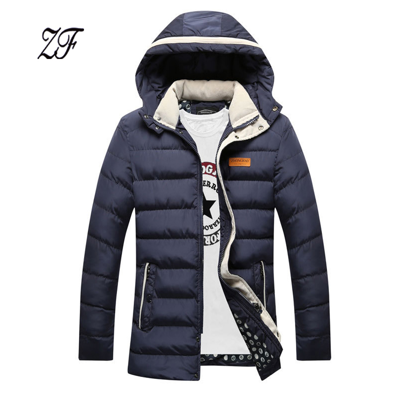 ФОТО High quality Winter Jacket Men thick cotton-padded clothes hooded jacket Plus Size Stylish Warm Hooded Parka Men Coats