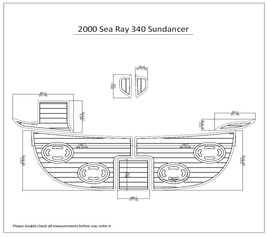 2000 Sea Ray 340 Sundancer Swim Platform Pad 1/4