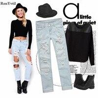 RenYvtil Gorąca Sprzedaż Kostki Długości Spodnie Prosto Dziura Kobiet Denim Spodnie Luźne Europa Vintage Spodnie Kieszeń Mody Jeansy Damskie