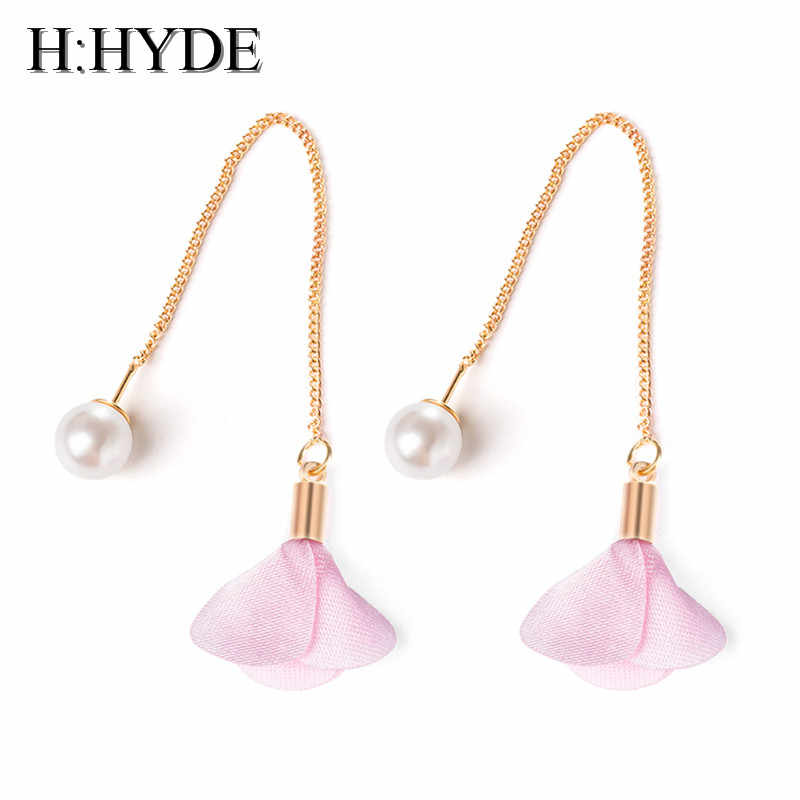 H:HYDE 7 Kinds Cotton Long Drop Earrings for Women Fashion Flower Imitation Pearl Earring Dangle Bijoux Party Statement Jewelry
