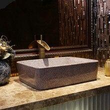 Rectángulo Europa Estilo Vintage arte porcelana encimera lavabo fregadero de cerámica hecho a mano lavamanos lavabo China lavabo