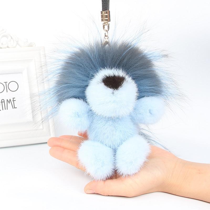 Cadeau de noël de luxe véritable vison fourrure porte-clés animal Lion porte-clés sac pendentif cadeau voiture pendentif accessoires porte-clés présent