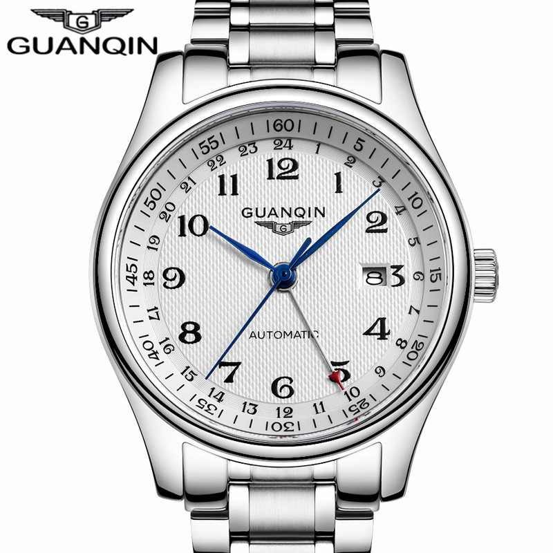 Watch Men Automatic Date Mechanical Business Casual Watches Top Brand Luxury Silver Steel Wristwatch relogio masculino new business watches men top quality automatic men watch factory shop free shipping wrg8053m4t2