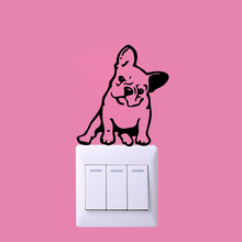 Cute French Bulldog Switch Wall Sticker Home Decor For Bedroom Kids Room Decoration Decal Stickers Murals