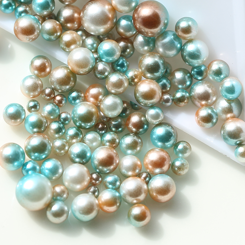 Plastic Beads Jewelry-Making Acrylic No-Holes Pearls DIY Colorful High-Quality Gradient