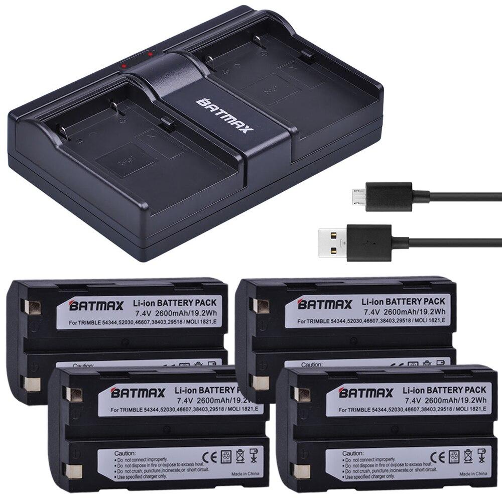 4Pcs 7.4V 2600mAh Battery + Dual USB Charger for Trimble 54344 Battery Trimble TR-R8 Trimble 5700 5800,MT1000,R7,R8 GPS Receiver 2400mah 6pcs combo ext battery for trimble 5700 5800 r7 r8 gps receiver