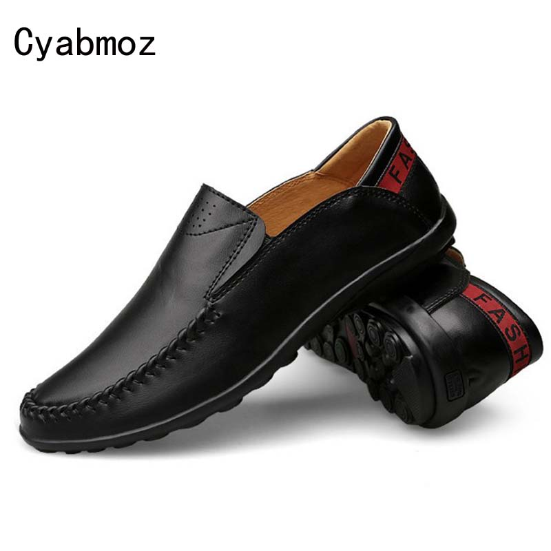 Cyabmoz 2017 Flats New Arrival Hot Fashion Casual Shoes Men Leather Loafers Handmade Moccasins Slip-on Comfortable Driving Shoes bole new handmade genuine leather men shoes designer slip on fashion men driving loafers men flats casual shoes large size 37 47