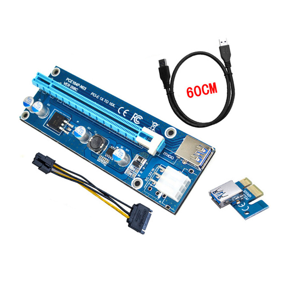60cm USB 3.0 PCI-E Express 1x to 16x Extender Riser Card Adapter SATA 6Pin Power Cable XXM new pci e 1x expansion kit 1 to 3 ports and to 4 pci express witch multiplier expander hub riser expansion card xxm