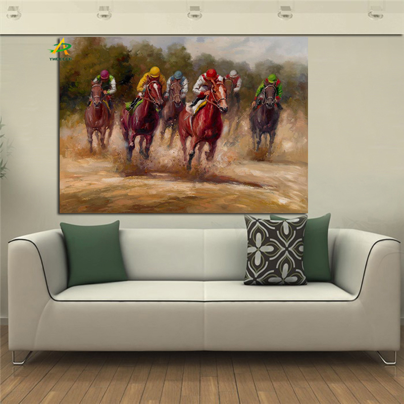 Shop1760606 Store YWDECOR Big Size Horse Racing Oil Painting Rode Through Forest River Print on Canvas Wall Painting Art Picture for Living Room