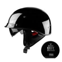 HOT SEll Motorcycle Helmet vintage Half Face Helmet Retro German Chopper Cruiser gloss Black helmets cascos para For harley DOT цена
