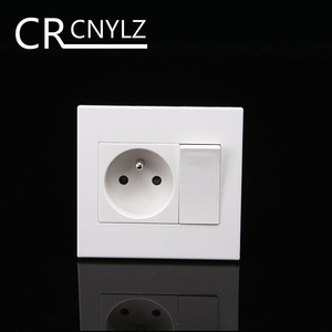 French Standard Household power plug wall socket with 1Gang 1Way Switch Socket 86 * 92mm flame retardant panel 250v 16A