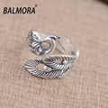 New Cute Phoenix Peony Open Ring 100% 990 Pure Silver Jewelry Women Unique Animal Rings Party Gifts High Quality Bijoux SY20951