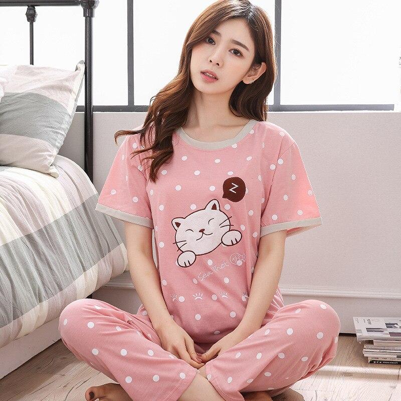 Pyjama-garnituren Unterwäsche & Schlafanzug Pyjamas Sets Für Frauen Mode Gestreiften Sommer Nachtwäsche Oansatz Shorts Big Size Lingerie Sexy Pyjamas Weibliche Homewear 3xl 4xl