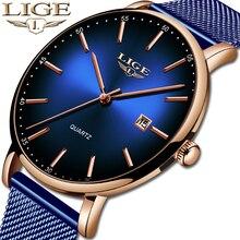 LIGE Модные мужские s часы лучший бренд класса люкс синие водонепроницаемые часы ультра тонкие Дата Простые повседневные кварцевые часы мужские спортивные часы