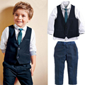 Formal Boys Kids Clothes 2017 Gentleman suit England Wedding Party Boys Clothes Children Clothing Sets Shirt 4PCS Boys Costume