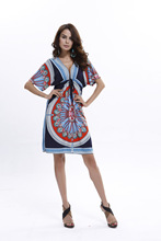 Kaguster Brasil Style Plus-size Summer Women Dress Sexy Milk Silk Print Print MIDI Knee-Length V-Neck Beach Style Dress 2019 knee length print day dress