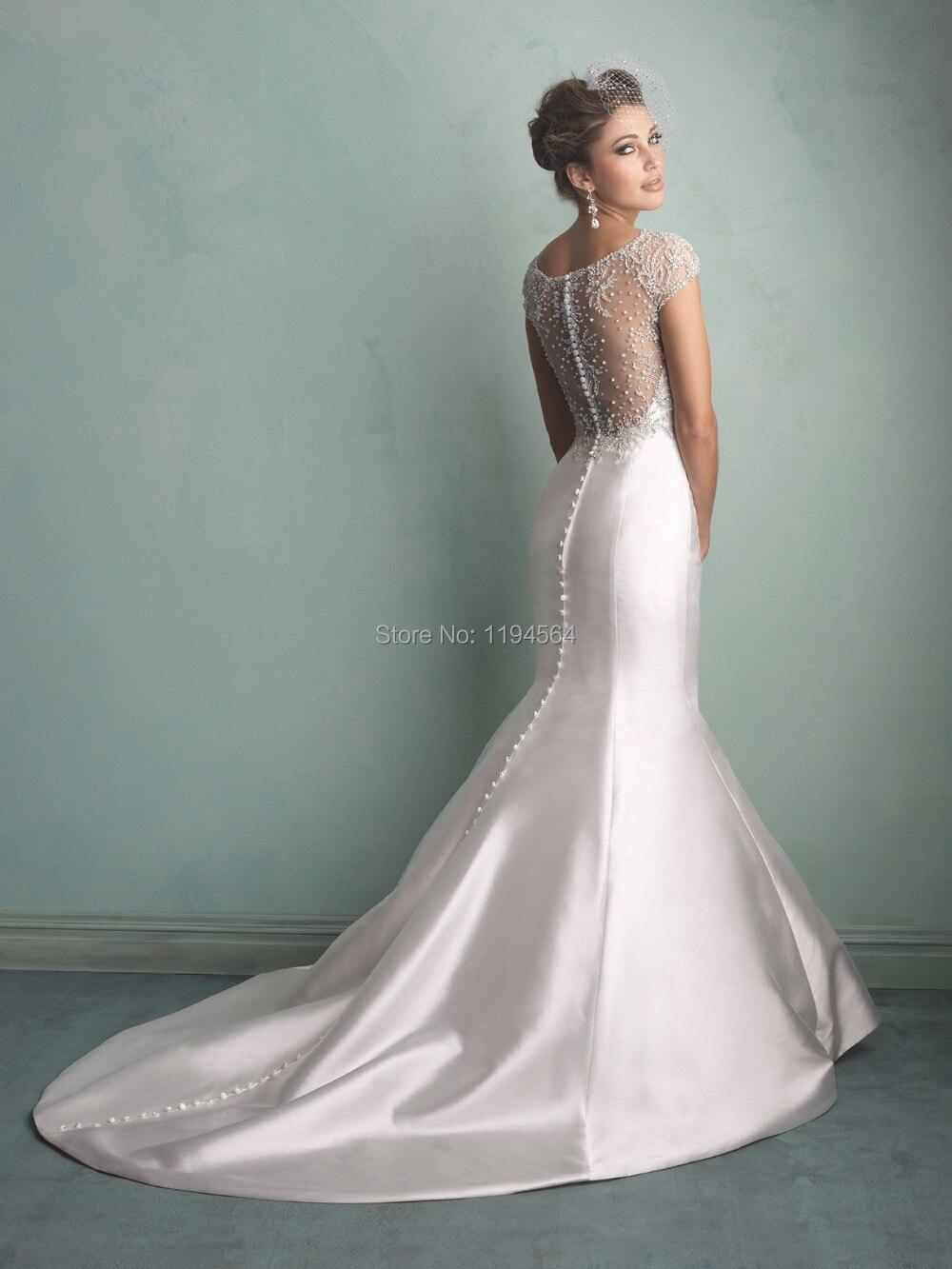 2014 Illusion Back Mermaid Wedding Dresses 2014 Beading Bridal Gowns ...