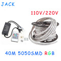 sale 40M 110V/220V High Voltage SMD 5050 RGB Led Strips Lights Waterproof + IR Remote Control + Power Supply