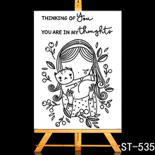 ZhuoAng Cute cat and girl Transparent Clear Stamp DIY Scrapbooking Album Card Making Decoration
