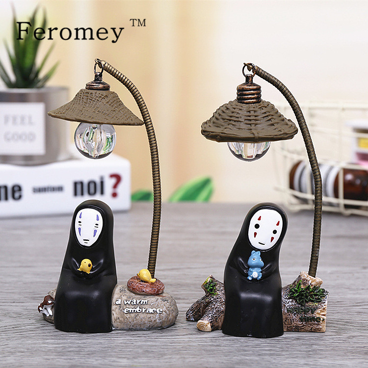 Studio Ghibli Spirited Away No Face Man Figures Toy LED Night Light Toy Anime Totoro No Face Man Figure Model Toy Kids Toys Gift