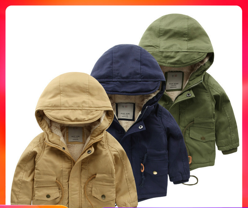 autumn winter children's clothing long sleeves drawstring waist design pure color hooded zipper sport boys trench coat
