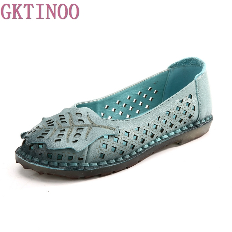 GKTINOO 2018 Women Loafers Lady Flat Shoes Woman Summer Flats Comfortable Soft Outsole Genuine Leather Hole Shoes