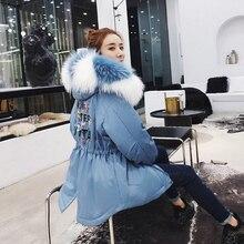 2019 大リアルナチュラルラクーン毛皮 女性の冬のジャケット女性厚く暖かいダウンパーカー女性ホワイトダックダウンジャケット緩いコート