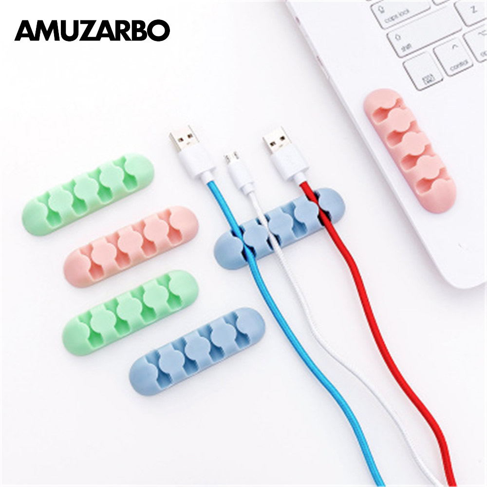 2 Pcs Creative Candy Color Self-adhesive Winder Desktop Data Line Separator Network Cable Fastener Fixed Clip Line Organizer