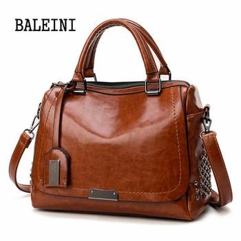 цена на New Fashion Handbags PU Leather Women Rivet Bags Casual Tote Ladies Bag Crossbody Bags For Women Luxury Brand Bolsa Feminina