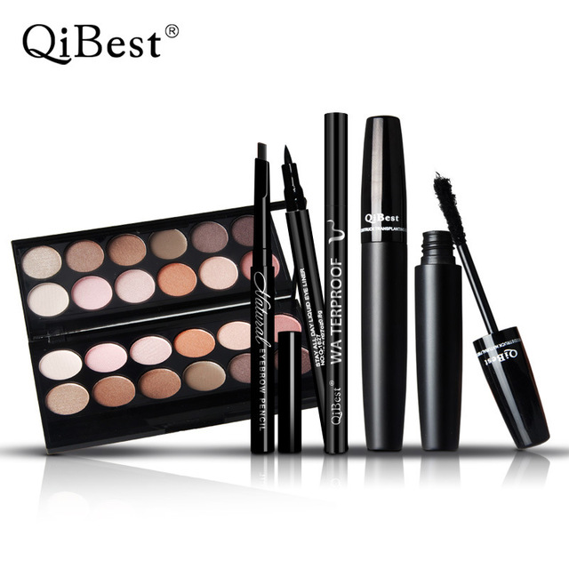 Qibest Make Up Set Charming12 Color Eyeshadow +  Natural Eyebrow Enhancer Pencil + Cool Black Lipuid Eye liner + 3d Mascara