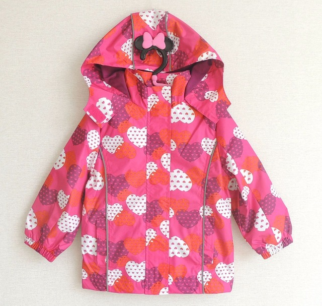 Free shipping- children/kids/girls waterproof/windproof jacket, burgundy heart, fleece lining size 98 to 140, spring or autumn