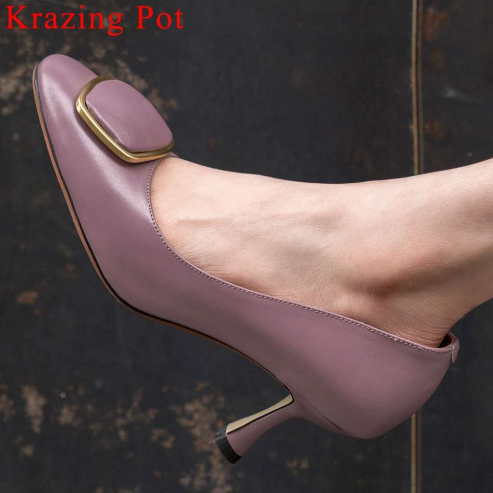 Krazing Pot 2019 genuine leather European style high heels square toe dance dating shoes metal fastener