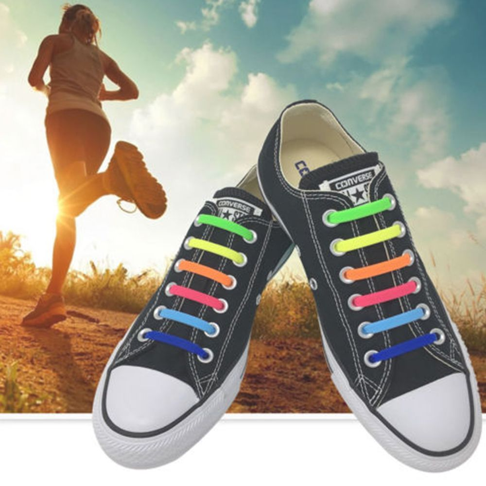 16Pcs Lazy Elastic Silicone No Tie Shoelaces Running Sneakers Strings Shoe Laces