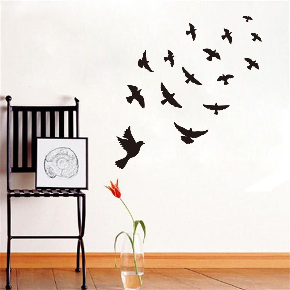 online get cheap diy wall stickers aliexpress com alibaba group dctop diy black flying birds vinyl wall sticker for kids rooms bedroom decals poster wallpaper wall