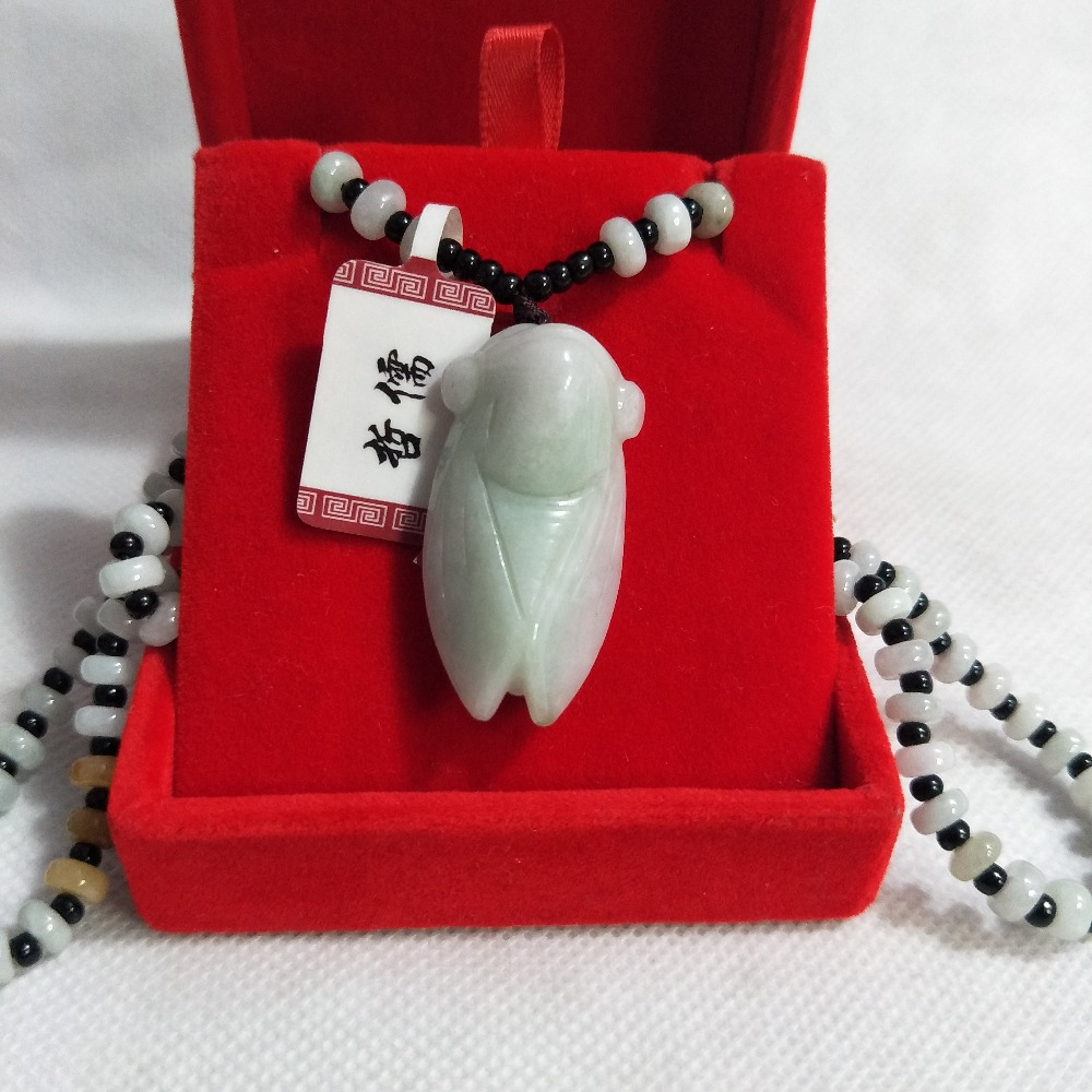 Zheru Jewelry Pure Natural Jadeite Light Green Know Pendant Tricolor Jade Bead Necklace Give Class A National Certificate