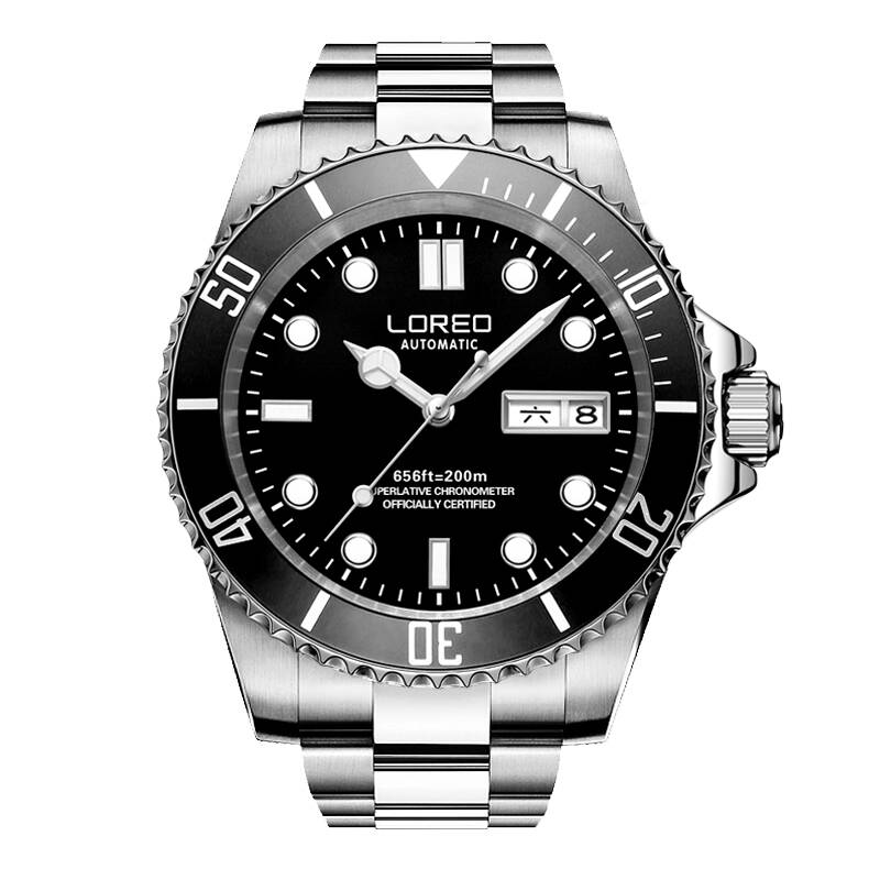LOREO 9203 Germany diver 200M oyster perpetual air-king automatic self-wind luminous waterproof archetype relogio masculino loreo 9203 germany diver 200m oyster perpetual air king automatic self wind luminous watches men luxury brand stainless steel